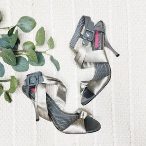 Betsey Johnson Satin Knot Front Strappy Heels